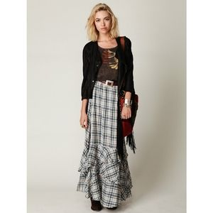 Free People One 100% Cotton Maxi Skirt Tiers Plaid